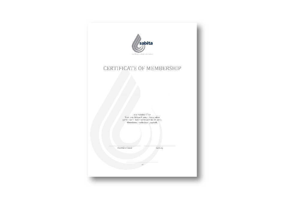 SABITA Corporate ID - Membership Certificate