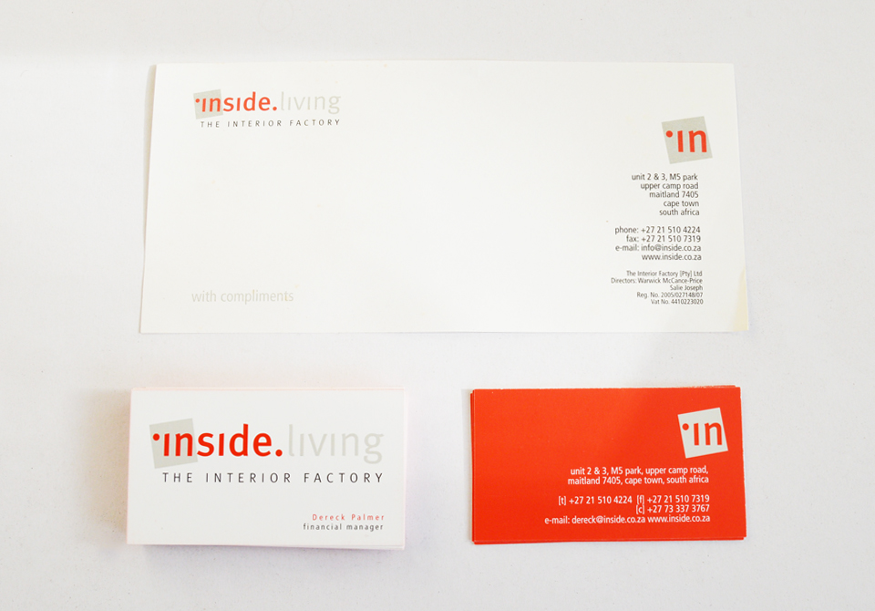 Inside Living Corporate ID - Compliment slip Business Cards